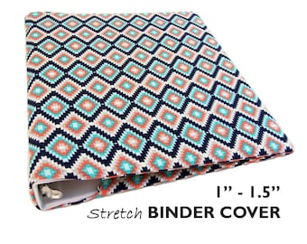 "Planner Binder Cover SOUTHWEST DIAMONDS for 1""-1.5"" Wide 3 Ring Binder, Recipe Book Binder, Recipe Binder, College Binder, School Binder"