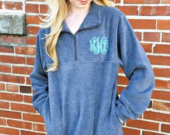 Monogrammed Fleece Quarter Zip Pullover Sweatshirt, Christmas Gifts for Her under 30 D1