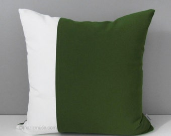 Green & White Outdoor Pillow Cover, Modern Olive Green Pillow Cover, Decorative Color Block Pillow Cover, Sunbrella Cushion Cover, Mazizmuse