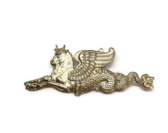Taurocampus | Large Brass Pin | Sea Monster Pin | Large Brooch | Gift for Men