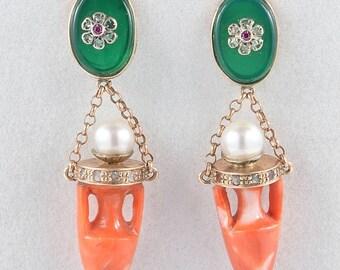 Etruscan revival urn coral pearl diamond jade paste swing earrings