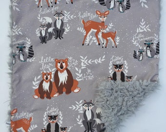 Mini Baby Cuddle Blanket - Hello Bear with Grey Llama Minky Backing
