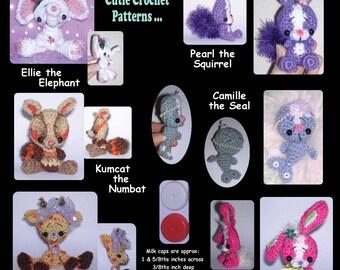 Elephant Bunny Rabbit Seal Giraffe Squirrel Numbat Milk Cap Cutie Digital PDF Crochet Patterns