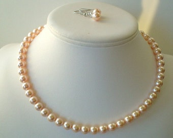 Single Strand Peach Swarovski Pearl Beaded Necklace and Earring Set    Great Brides or Bridesmaid Gifts