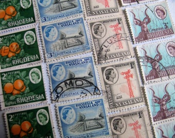 RHODESIA AFRICA Stamp Collection  Kudu, Citrus, Queen Elizabeth  - 32 Vintage Used Postage Stamps  - 1960s   (B30)
