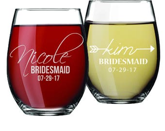 Personalized Stemless Wine Glasses, Etched Wine Glasses, Custom Wine Glasses, Bridesmaid Gift, Bridesmaid Stemless Wine Glasses