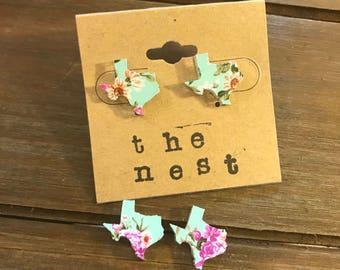 Mint Floral Print Texas Earrings