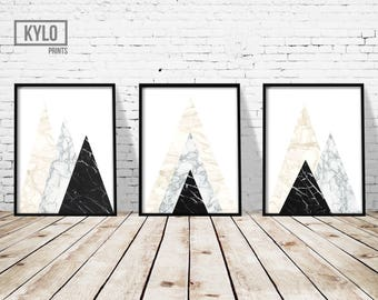 Geometric Print Set, Abstract Print, Scandinavian Wall Art, Modern Graphic Print, Marble Print, Home Decor, Geometric Wall Art, Minimalist