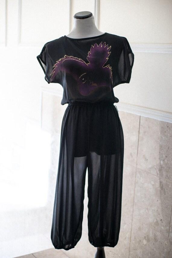 Black Jumpsuit Harem Pant Sheer Purple Gold Dove Motif Romper