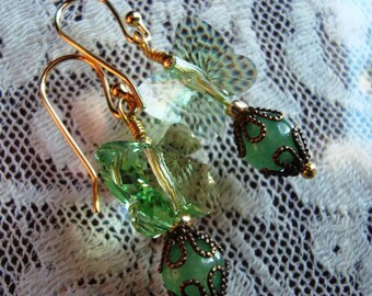 Sparkling Crystal Butterfly Earrings In Green or Lavender  - Gemstone buds, Art Nouveau, Fairy Tale, Renaissance, Fantasy, Crystal