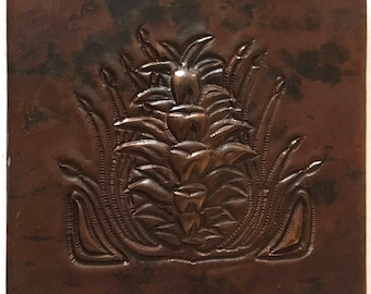 Hammered Copper Accent Tile - Arts & Crafts Pine Cone Design