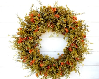 Fall Wreath-Fall Door Wreath-Autumn Wreath-FAll Decor-Boxwood Wreath-Outdoor Wreath-Year Round Wreath-Home Decor-Artificial Wreath