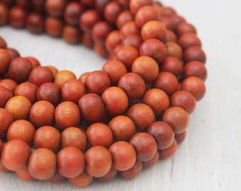 Natural 8mm Round Redwood Beads Eco Friendly Red Beads Yoga Jewelry Supply