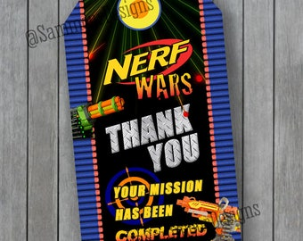 Nerf Favor Tags - Nerf Thank you Cards - Nerf Party Favor Tags - Nerf Tags - Nerf Party Favors