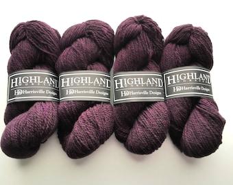 Worsted weight wool yarn - Blackberry, purple yarn