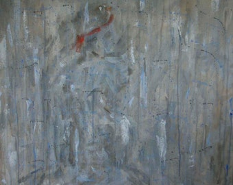 Original Painting on Canvas, Abstract Girl, Shades of Gray with Hints of Blue
