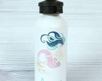 Mermaid water bottle. Custom Aluminum water bottle, personalized water bottle, mermaid gift, mermaid bottle, monogram gift