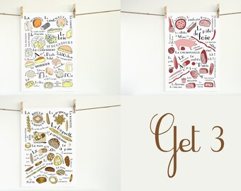 Kitchen Art French Food Craft set of 3 13x19 posters Cheeses, Breads and Cold Cuts Home Decor meat typographic print Foodie Food lover