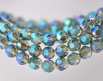 70pcs Round Faceted Crystal Glass Beads 8mm Yellow Green -(32QZ08-8)