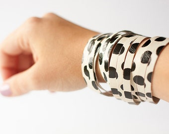 Leather Bracelet / Original Sliced Wrap Cuff / Abstract Dots