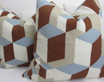 Blue White Brown Pillow Covers- Pillow Covers- Accent Pillow - Brown Pillow- White Pillows- Blua Pillows