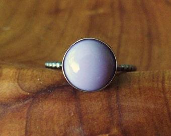 Vintage Lavender Glass, Sterling Silver Ring OOAK