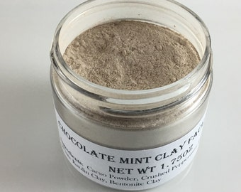 Chocolate Mint Clay Face Mask w/Bentonite Clay Cacao Peppermint Leaves, Facial Scrub Brightens Skin