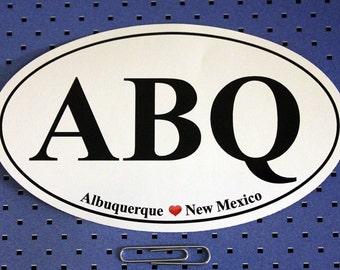 Albuquerque New Mexico (ABQ) Oval Bumper Sticker