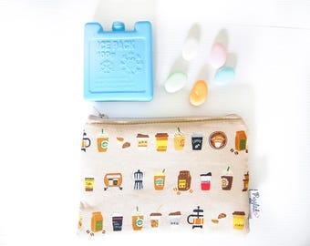 Mini Insulated Snack Bag -  Coffee  (Beige or Creamy White)