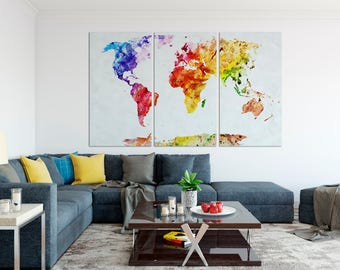 Canvas world map set, Watercolor world map print