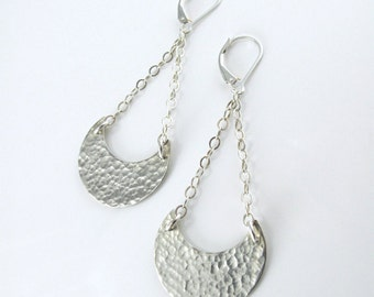 Crescent Dangle Earrings - Textured Hand Formed Sterling Silver