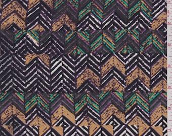 Black/Orange/Purple Diamond Zig Zag Crepe, Fabric By The Yard