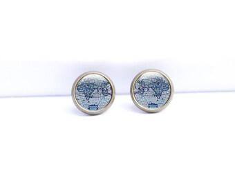 Map Earrings - Map Stud Earrings - Brass Map Studs - Stud Map Earrings (MEMS1)