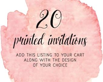 Set of 20 Printed Invitations