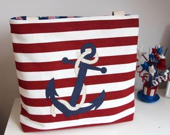 Nautical Anchor Tote Book Bag Beach Bag Market Bag and Pouch
