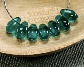 Teardrop beads 20pc 11mm | Teal teardrops | Czech glass teardrop beads | Teal green beads | Tear drop beads | Sea green teal tear drops last