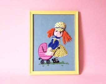Vintage Embroidered Little Girl And Buggy Framed Art