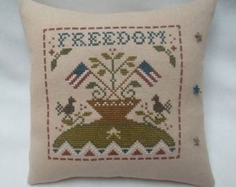 Patriotic Freedom Primitive Cross Stitch Mini Pillow July 4, Independence Day Shelf Pillow