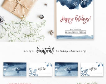 watercolor snowflake clipart winter wedding clip art holiday border background 5x7 card template gift tag navy photo christmas card