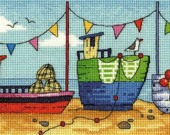 Boats  Cross Stitch Kit from Heritage Crafts- By the Sea range, designed by Karen Carter, Cross stitch kit, 14 ct aida, beach scene