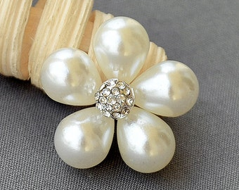 5 Rhinestone Button Embellishment Pearl Crystal Wedding Brooch Bouquet Invitation Cake Decoration Hair Comb Shoe Clip BT595