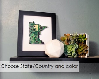 Custom State Wall Art, Geek Art, State Pride Decor, Housewarming Gift, Retirement Memento, Engineer Gift, Computer Programmer Art, Geekery