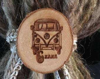 Wood hair Dread, westfalia, door-Dreadlock hair Dread tie, hairstyle, boho Hippie, Bohemian, hippie van hippy bus, suit accessory