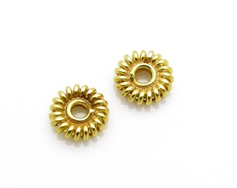 4 Pcs, 5.2mm, 24k Gold Vermeil Spacers