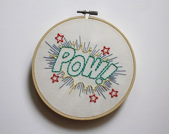 POW! Embroidery Hoop // Comic Book Hoop Art // Comic Book Wall Decor // Geeky Gift // Comic Book Decor // 6 inch hoop