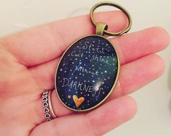 Kim Anderson Stars Can't Shine Without Darkness 30x40mm Oval Keyring, Bronze Keyring / Keychain / Bag Charm,  Art Keyring