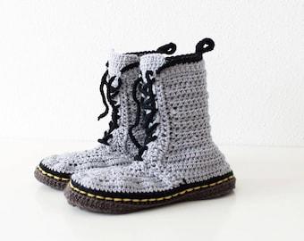 Crochet PATTERN  Martens style slippers