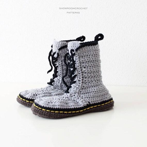 Patron de crochet zapatillas estilo Martens talla adultos