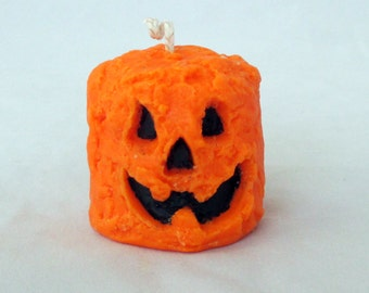 Pumpkin candle, grubby candle, halloween candle, fall candle, votive candle, unique candle, novelty candle, pillar candle, unscented candle