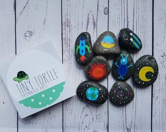 Space story stones, story telling set, birthday gift, unique gift, children's gift, handpainted gift